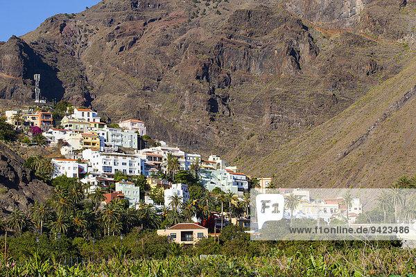 Dorf La Calera am Berghang  La Calera  Valle Gran Rey  Kanarische Inseln  Spanien