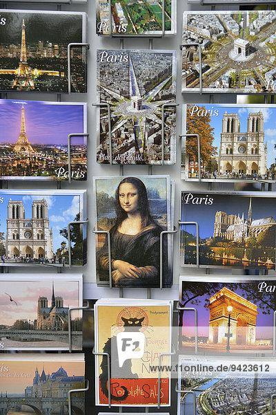 Postcards at a kiosk  Mona Lisa  Paris  France