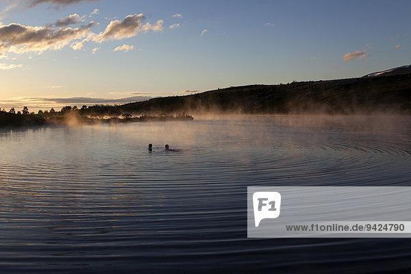 Hot spring  thermal lake  evening light  near Husavik  Iceland