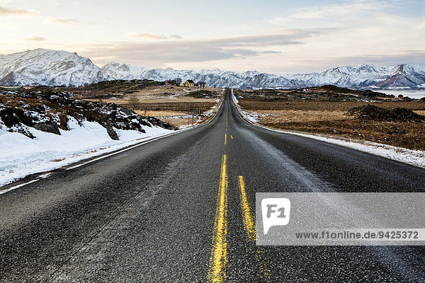 Winter landscape with the European route E10  Lofoten  Norway