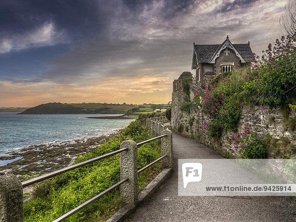Uferpromenade  Falmouth  Cornwall  England  Großbritannien