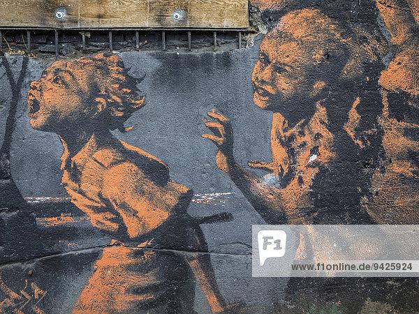 Graffiti an der East Side Gallery,  Friedrichshain,  Berlin,  Deutschland