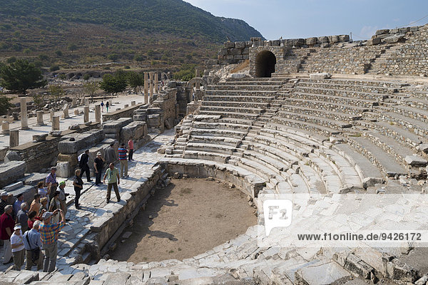 Odeion or Bouleuterion  formerly covered hall  place for council meetings  with the colonnade of the Upper Agora  public square  ancient city of Ephesus  UNESCO World Heritage Site  Selçuk  Izmir Province  Turkey