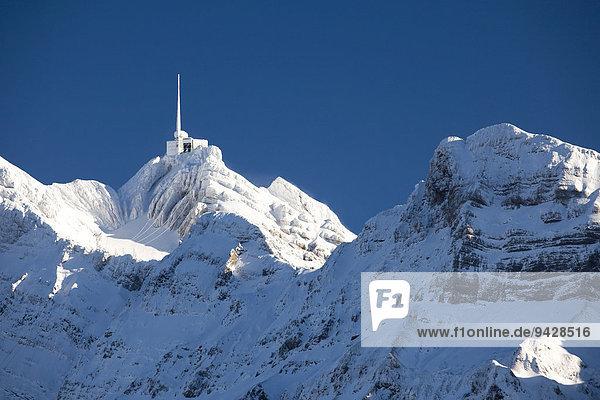 Säntis  Winterlandschaft im Alpstein mit Neuschnee  Appenzell  Schweiz  Europa