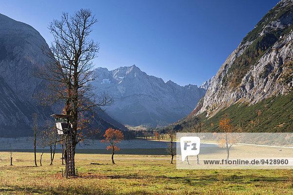 Herbstwetter im Karwendelgebirge am Morgen  Ahornboden mit Ahornbäumen  Österreich  Europa