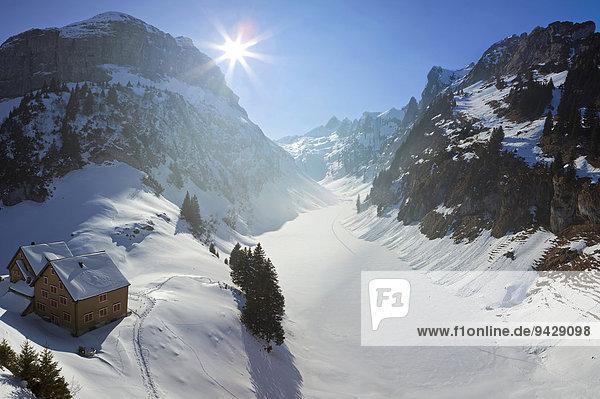 Schneelandschaft  Fälensee und Bollenwees  Alpstein  Alpen  Appenzell  Schweiz  Europa