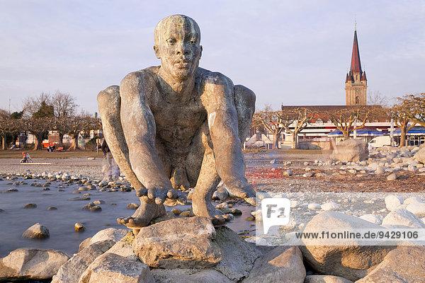 'Skulptur Stehende Welle ''El Niño'' bei Radolfzell am Bodensee  Baden-Württemberg  Deutschland  Europa'