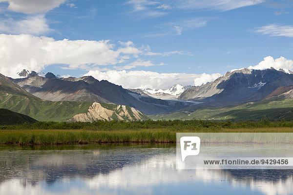 Wasserspiegelung auf einer Hochebene in der Alaska Range in Alaska  USA
