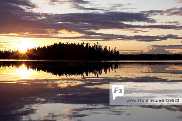 Der Kashwitna Lake am Abend  hinten der Denali oder Mount McKinley  Alaska  USA