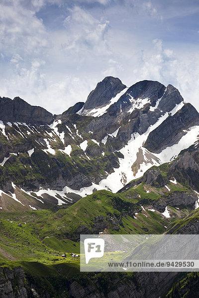 Meglisalp und Altmann im Alpstein  Appenzell  Schweiz  Europa