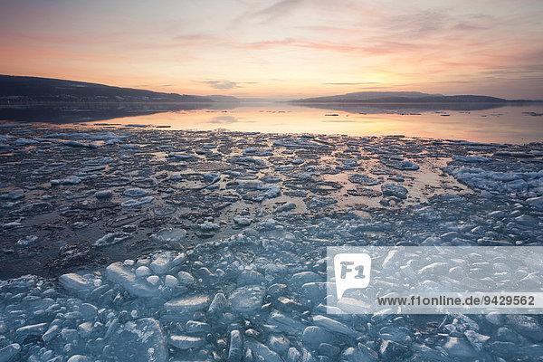Eis am Bodensee bei Sonnenuntergang an einem Winterabend  an der Sandseele der Insel Reichenau  Baden-Württemberg  Deutschland  Europa  ÖffentlicherGrund