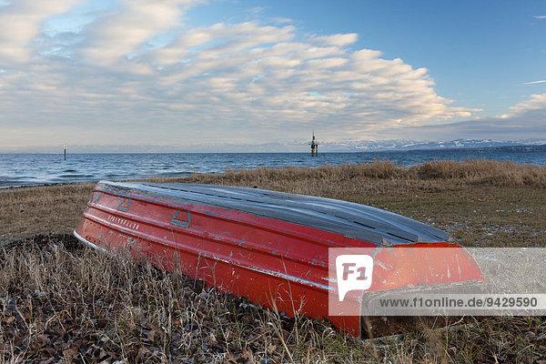 Umgedrehtes rotes Rettungsboot am Ufer des Bodensees bei Konstanz  Baden-Württemberg  Deutschland  Europa  ÖffentlicherGrund