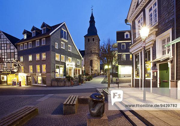Historic centre at dusk  Hattingen  Ruhr district  North Rhine-Westphalia  Germany