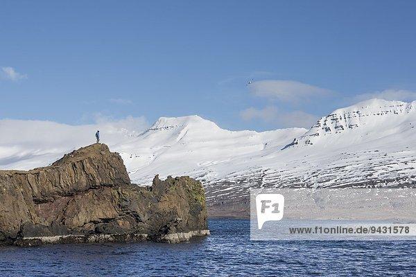 Mann am Rande der Insel  Island