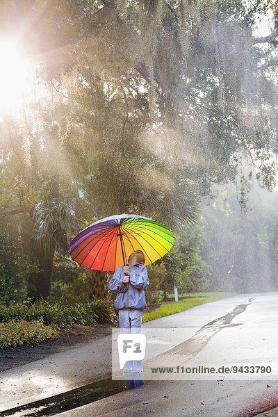 Junge mit Regenschirm und Blick auf die Straße