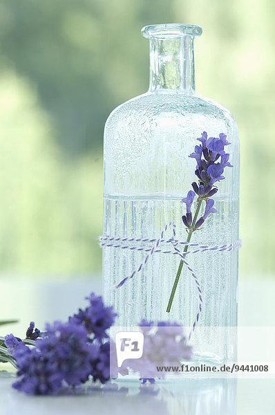Lavender blossom and lavender water in glass bottle