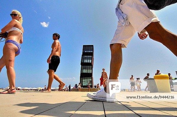 Sculpture ´The wounded star´ L´estel ferit by Rebecca Horn at Barceloneta beach  1992. Barcelona  Catalonia  Spain.