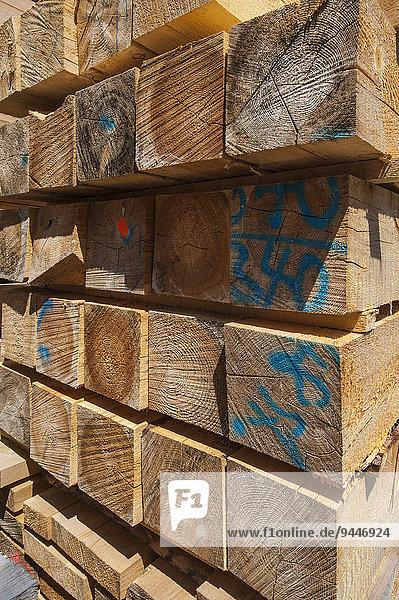 Gestapelte Holzleisten  Bayern  Deutschland  Europa