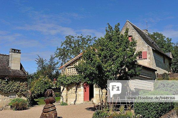 Feuerwehr nahe Frankreich Europa Skulptur Schriftsteller Wohngebäude Gebäude Museum Loire Chinon