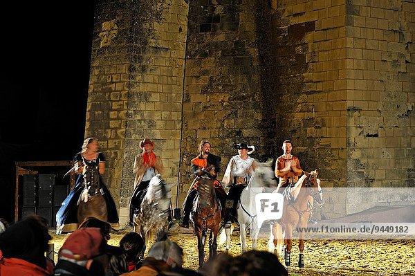 historical live performance ´´Les Ecuyers du Temps´´ by Bruno Seillier at the Chateau de Saumur  Maine-et-Loire department  Pays de la Loire region  France  Europe.