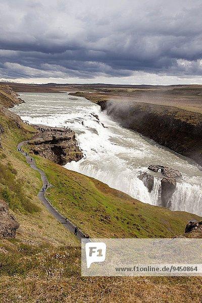 Gullfoss Waterfall and Gullfoss Gorge  on the Hvita River  Southwest Iceland.
