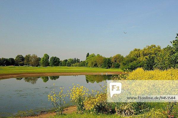 über Monarchie Ansicht Golftee Tee Zimmer Richmond London Borough of Richmond upon Thames Feuchtgebiet Kurs England Surrey