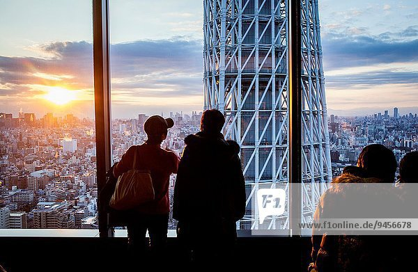 Detail Details Ausschnitt Ausschnitte Sonnenuntergang Großstadt Tokyo Hauptstadt Turm Japan