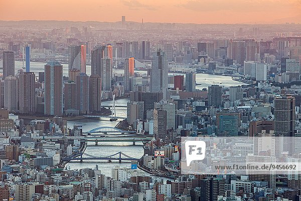 Tokyo Hauptstadt Fluss Ansicht Sumida Japan