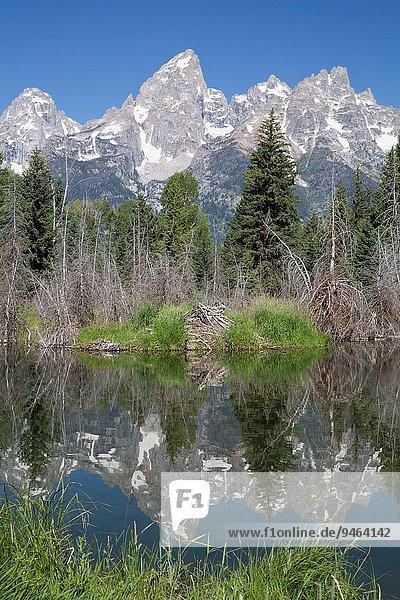 Vereinigte Staaten von Amerika USA Wasser nehmen Spiegelung Fernverkehrsstraße Ende Reflections Wyoming
