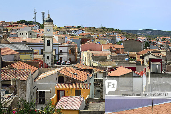 'Overview of the town with the Basilica of Sant'Antioco  Isola di Sant'Antioco  Province of Carbonia-Iglesias  Sardinia  Italy  Europe'