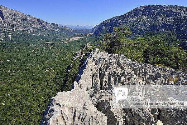 Ausblick vom Monte Tiscali in das Lanaittu-Tal  Gennargentu-Nationalpark  Supramonte  Provinz Nuoro  Sardinien  Italien  Europa