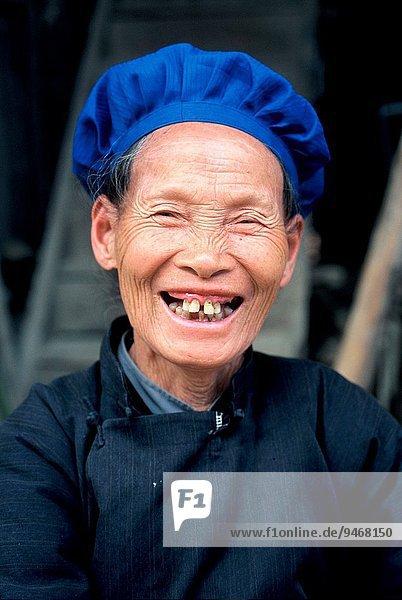 A smiling old minority woman  Yunnan  South China  Asia.