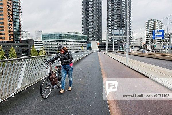 gehen Wind Nachmittag Niederlande Rotterdam
