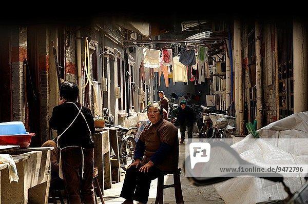 Tradition Gebäude Gasse China Asien Ortsteil alt Shanghai