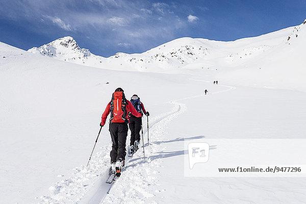 Skitourengeher beim Aufstieg durch das Lagauntal auf den Stotz bei Kurzras im Schnalstal  hinten der Stotz  links die Saldurspitze  Schnals  Meran und Umgebung  Meranerland  Südtirol  Trentino-Südtirol  Italien  Europa