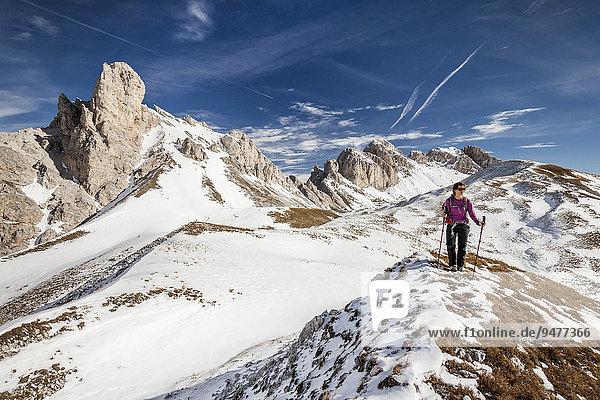 Bergsteiger beim Aufstieg auf den Tullen über den Günther-Messner-Steig im Villnösstal  hinten der Tullen  Dolomiten  Villnöss  Eisacktal  Südtirol  Trentino-Südtirol  Italien  Europa