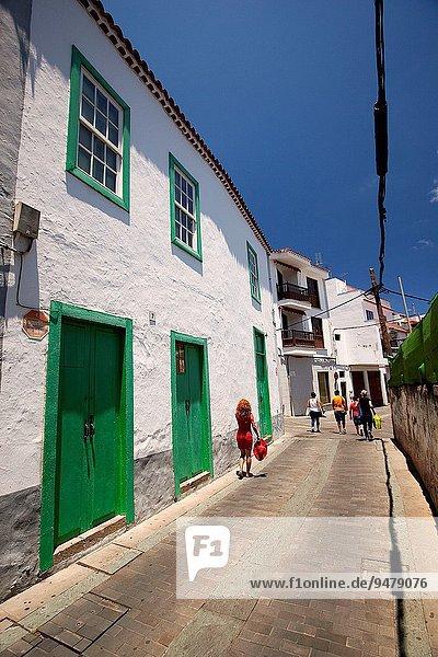 nahe Europa Tradition gehen Gebäude Straße Tourist Kanaren Kanarische Inseln Gran Canaria Spanien