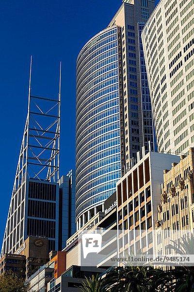 hoch oben Gebäude aufwärts Straße Morgendämmerung Mittelpunkt Australien Business Ortsteil New South Wales Sydney
