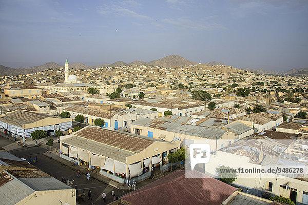 Ausblick auf die Stadt Keren im Hochland  Keren  Eritrea  Afrika