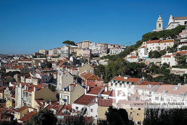 View of the city from Rua Costa do Castelo  Lisbon  Portugal.