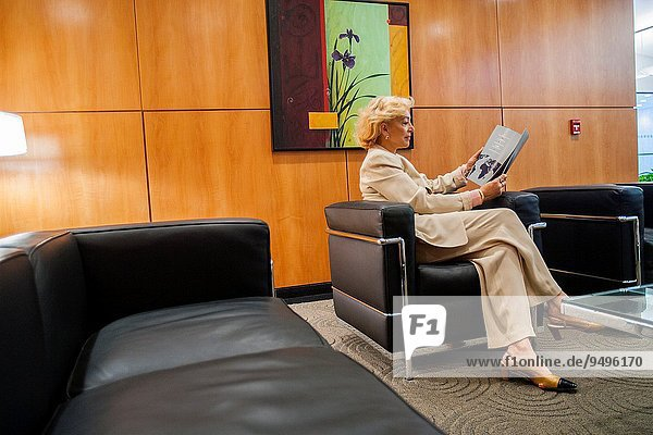 Business woman in waiting room