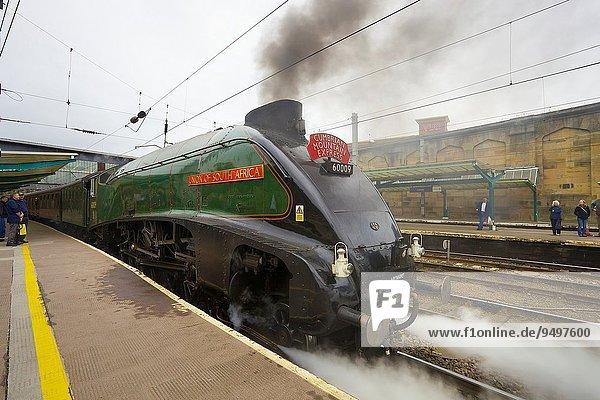 LNER Class A4 60009 Union of South Africa at Carlisle Railway Station. Carlisle Cumbria England UK.