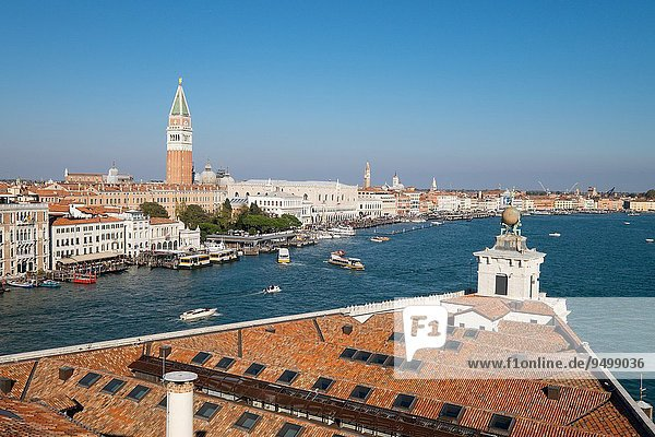 Punta della Dogana  the old Venice customs  actually a modern art museum  seen from the Patriarchal Seminary of Venice  Italy  Europe.