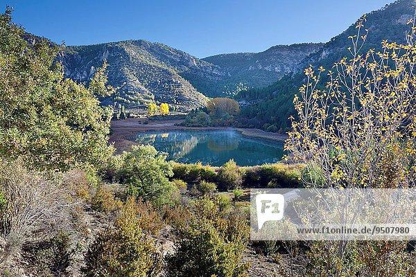 hoch oben Europa Landschaft Guadalajara Lagune Spanien
