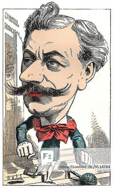 Louis Andrieux  a French politician  political caricature  1882  by Alphonse Hector Colomb pseudonym B. Moloch  a French caricaturist