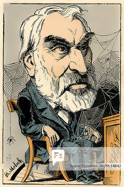 Pierre Clément Eugène Pelletan  a French writer  journalist and politician  political caricature  1882  by Alphonse Hector Colomb pseudonym B. Moloch  a French caricaturist