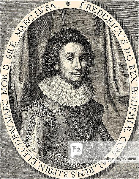 Frederick V  Elector Palatine  1596-1632  Count Palatine and Elector of the Palatinate and Frederick I King of Bohemia  historical illustration