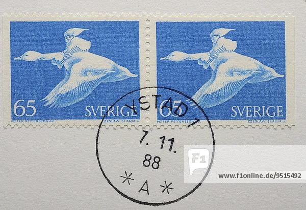 Briefmarken  Nils Holgersson auf der Gans  Kinderbuch von Selma Lagerlöf