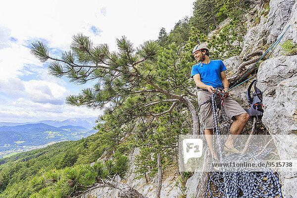 Kletterer im Eichertsteig,  Grünberg,  Schneeberg,  Österreich,  Europa