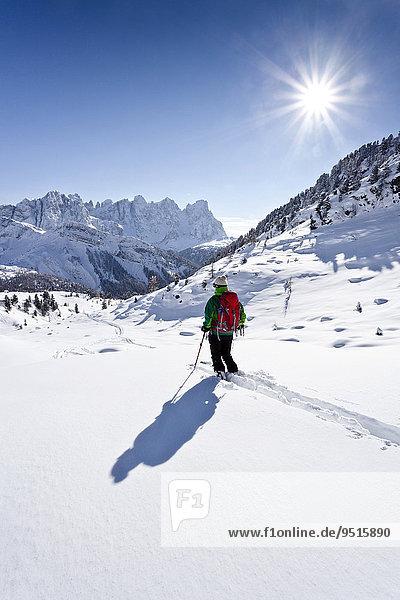 Skitourengeher bei der Abfahrt vom Juribrutto oberhalb vom Passo Valles  Dolomiten  hinten die Palagruppe  unten der Passo Valles  Falcade  Trentino  Italien  Europa